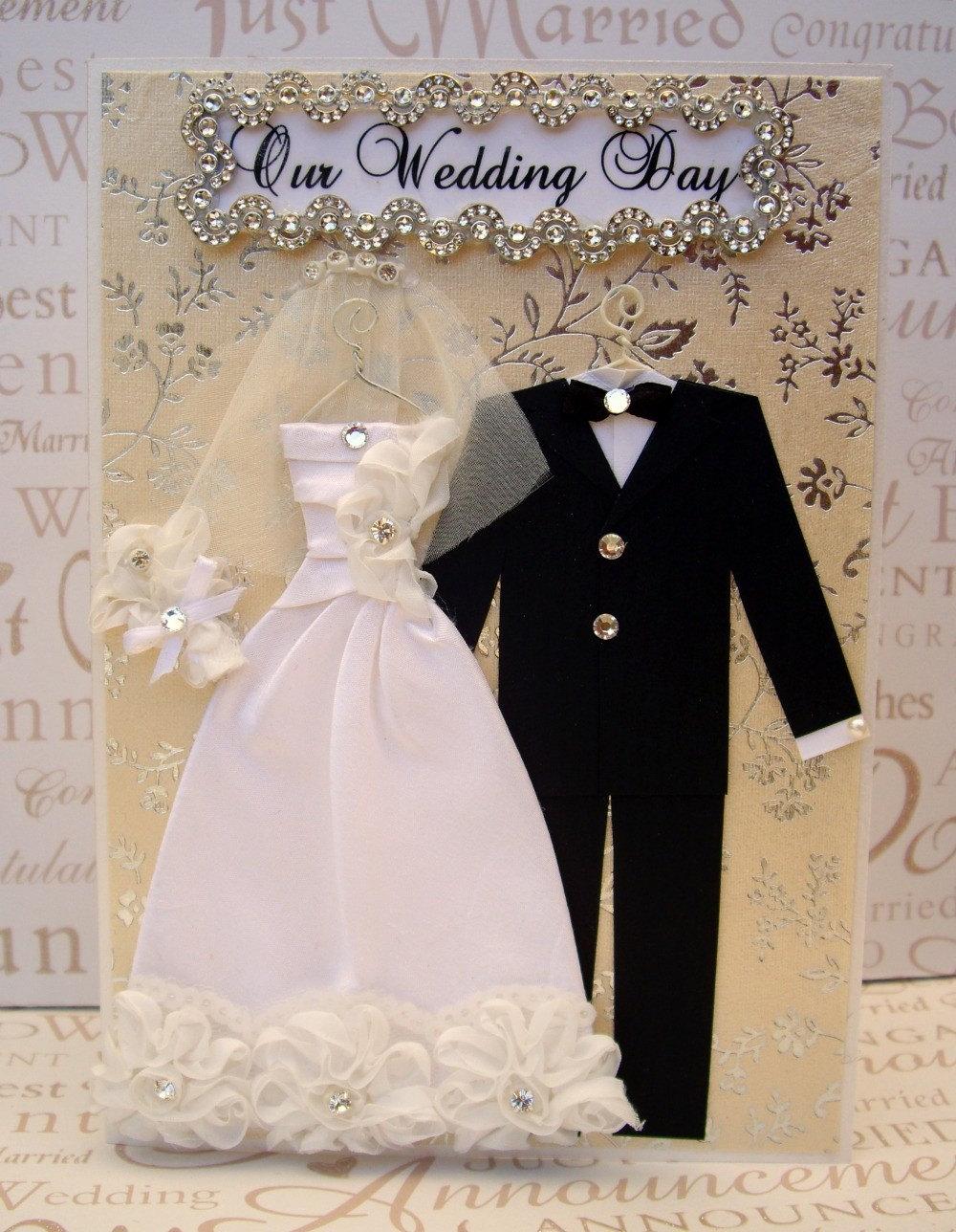 Diamond Rose Personalised Wedding Dress Card / Bride and Groom / Handmade Greeting Card
