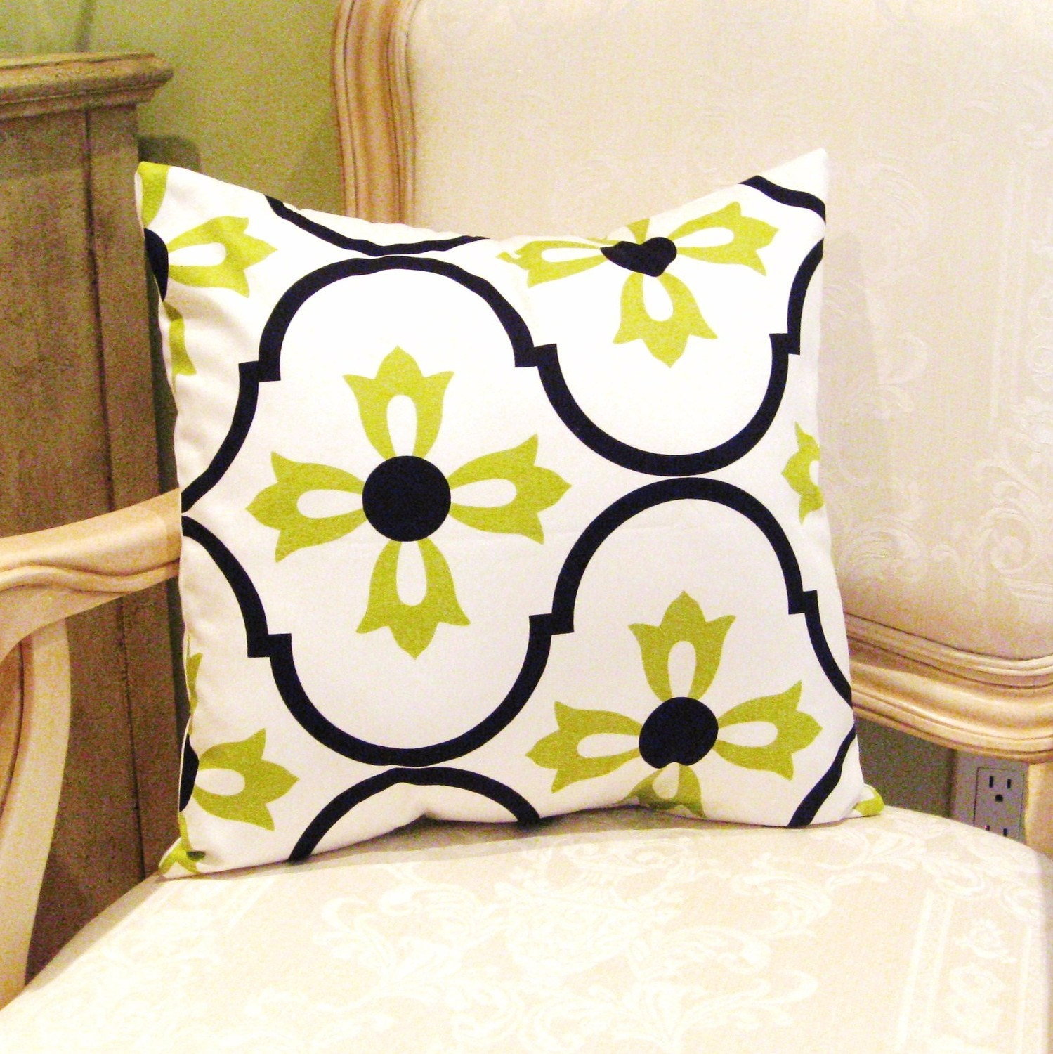 16x16 inch Handmade Pillow Cushion Cover Case in Designer Vicki Payne, Logan, Blossom in Lime by LMcreation on Etsy
