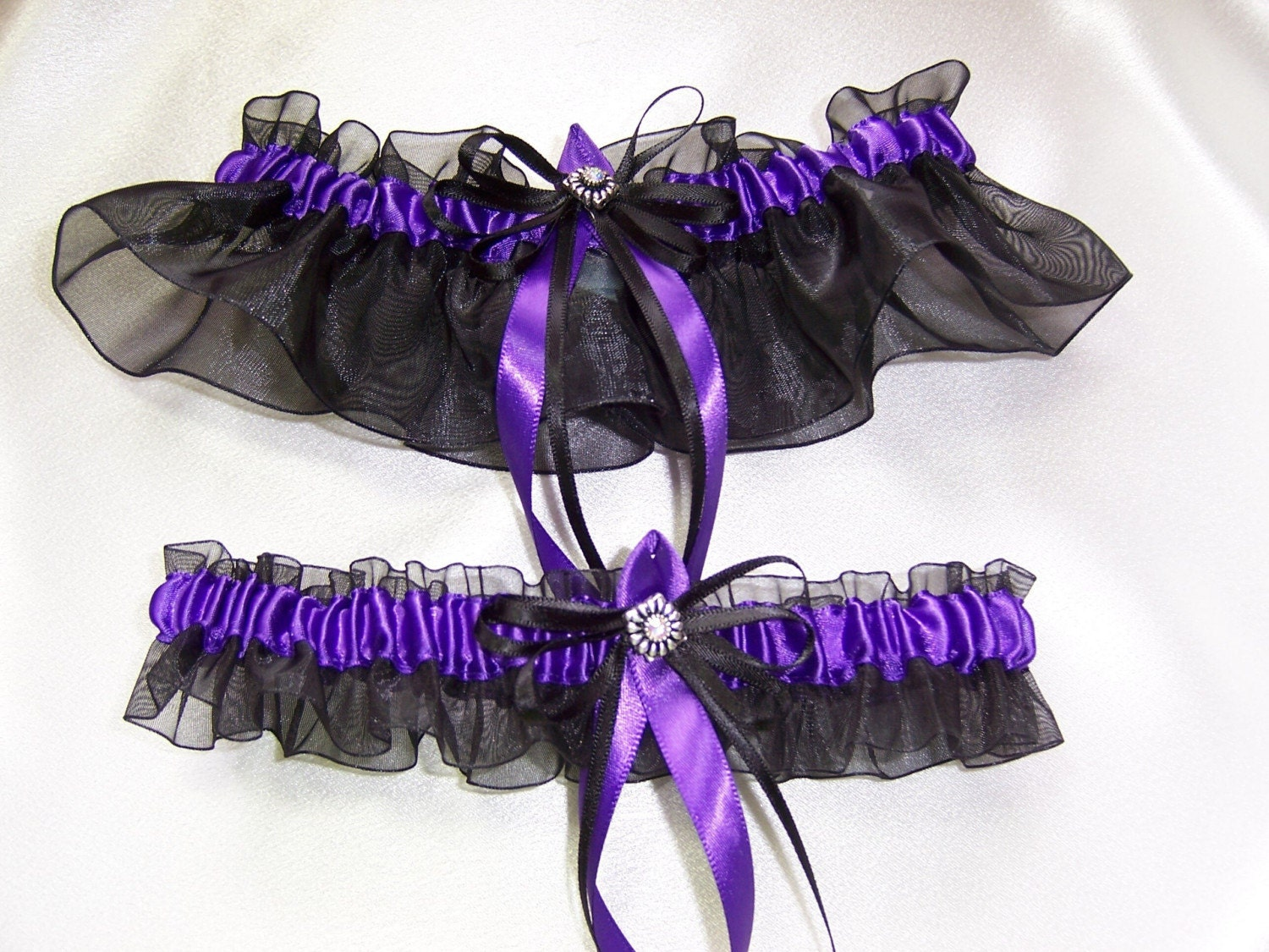 Black and Purple Wedding Garter Set Bridal Prom