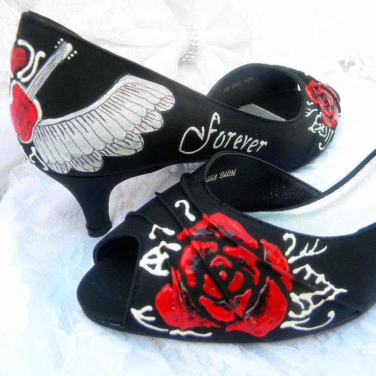 Wedding Shoes Metal is Forever Rock and Roll painted black Peep toes