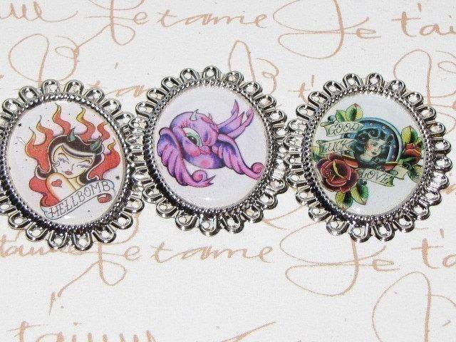 Handmade Charm Set of 3 - Tattoo Swallow Love Bird doves HELLBOMB.