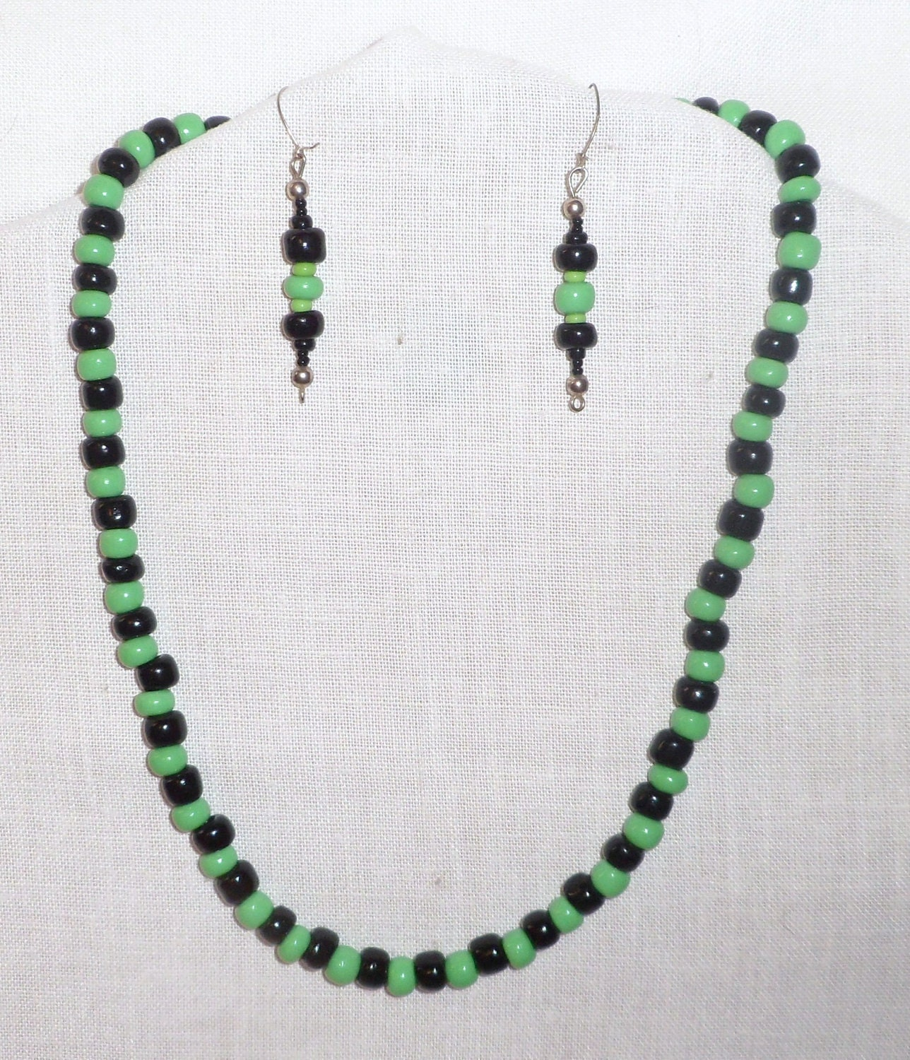 Czech beaded Earth-colored necklace & ear-ring set