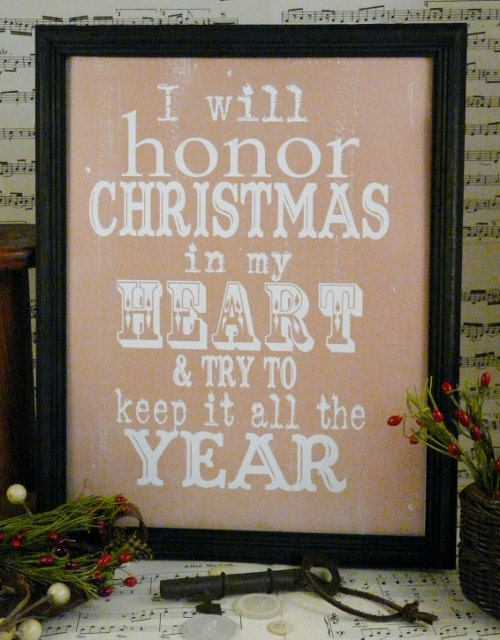 Honor Christmas Scrooge sign digital - beige uprint words charles dickens vintage style paper old pdf 8 x 10 frame saying