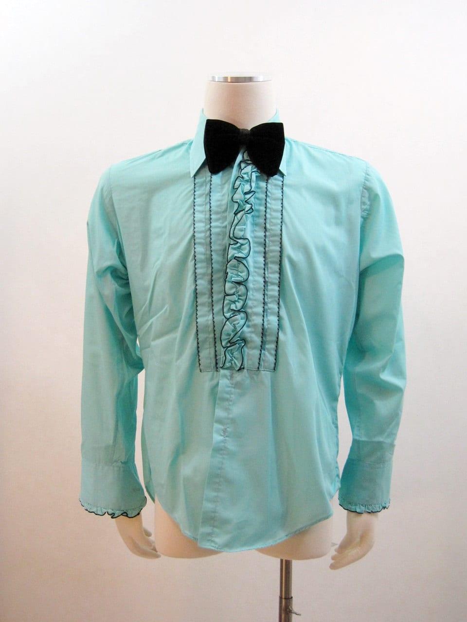 70s Tuxedo Shirt Vintage Ruffled Turquoise Blue By