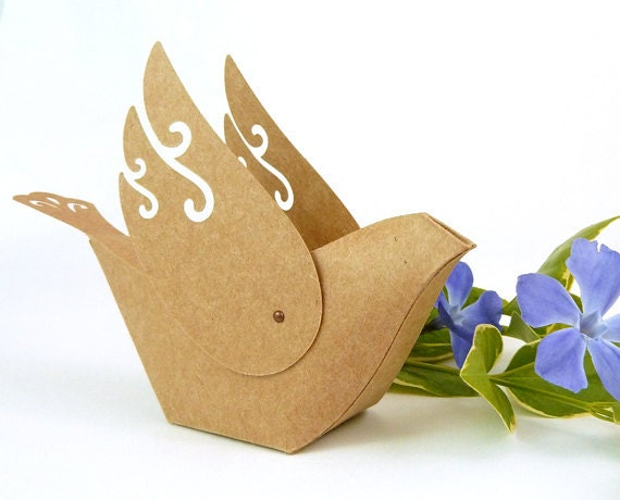Etsy cake favor boxes : Items similar to dove favor boxes rustic handmade kraft
