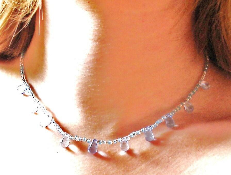 Baby blue teardrop necklace