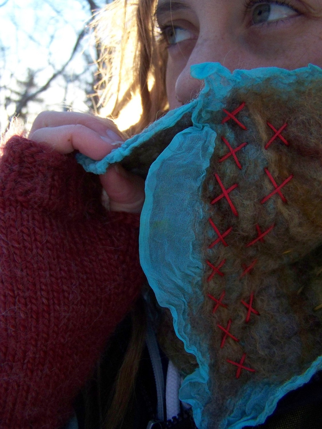 NEW- Nuno Felt Cowl with Embroidery- Hand Made