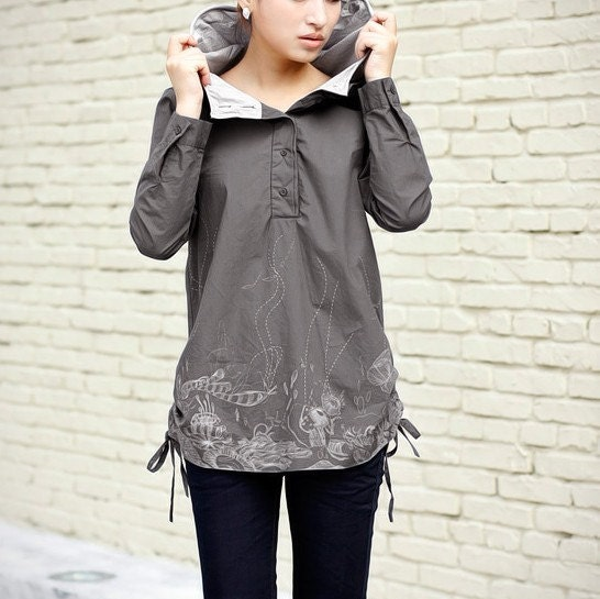 Gray hooded printing double cap jacket