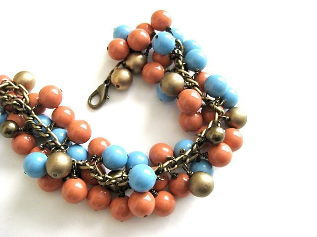 Swarovski Blue and Tangerine Tango Gold Pearl Charm Bracelet - PluffMudDesigns