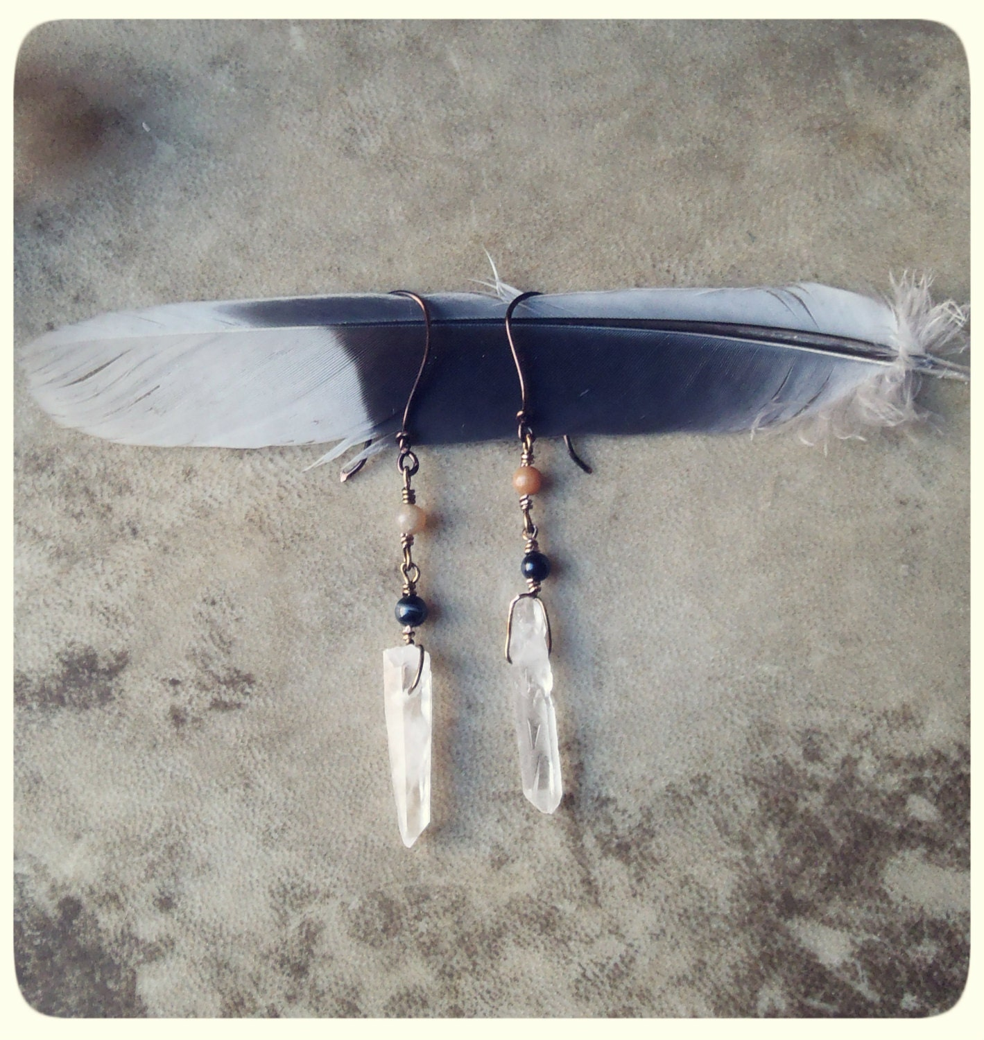 renewal. crystal point, onyx and agate earrings - SpiritTribe