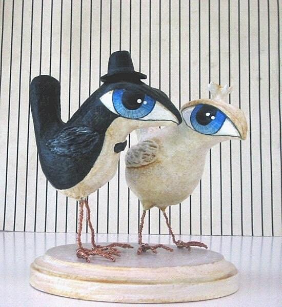 Wedding Cake Topper - Big Eye Birds - Love Birds