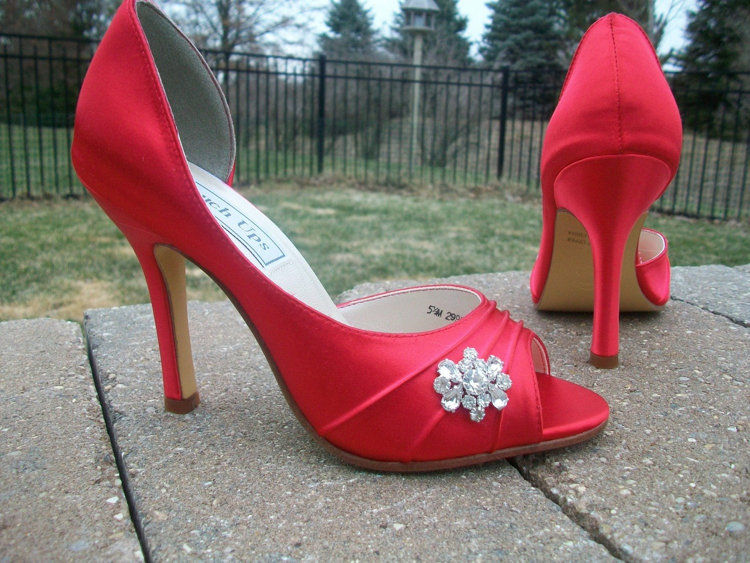 Flirty Red 3.5 Heel Satin Shoes With Rhinestones...Over 100 Colors To Choose From