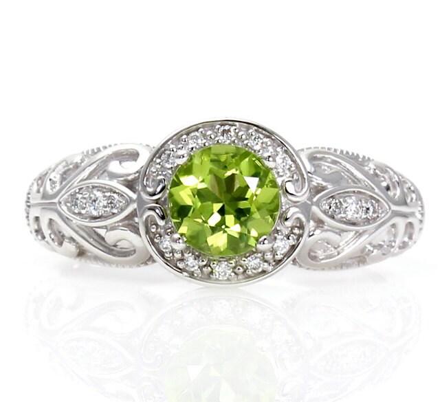 14k vintage peridot engagement ring diamond halo art by. Black Bedroom Furniture Sets. Home Design Ideas