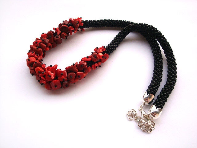 Crocheting Jewelry With Beads : Bead crochet rope necklace with red coral by RebekeJewelry on Etsy