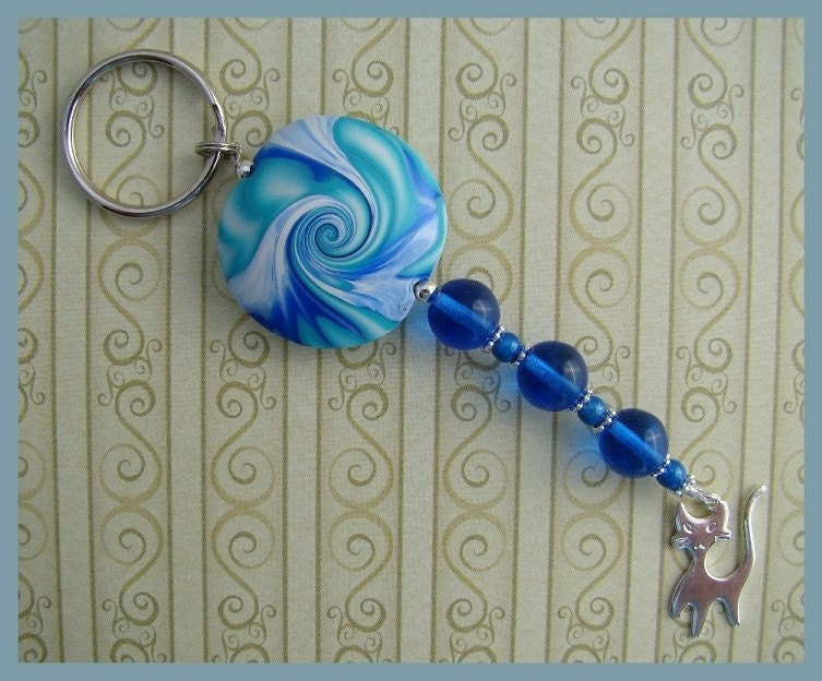 Polymer Clay Focal Bead Key Ring in Blue