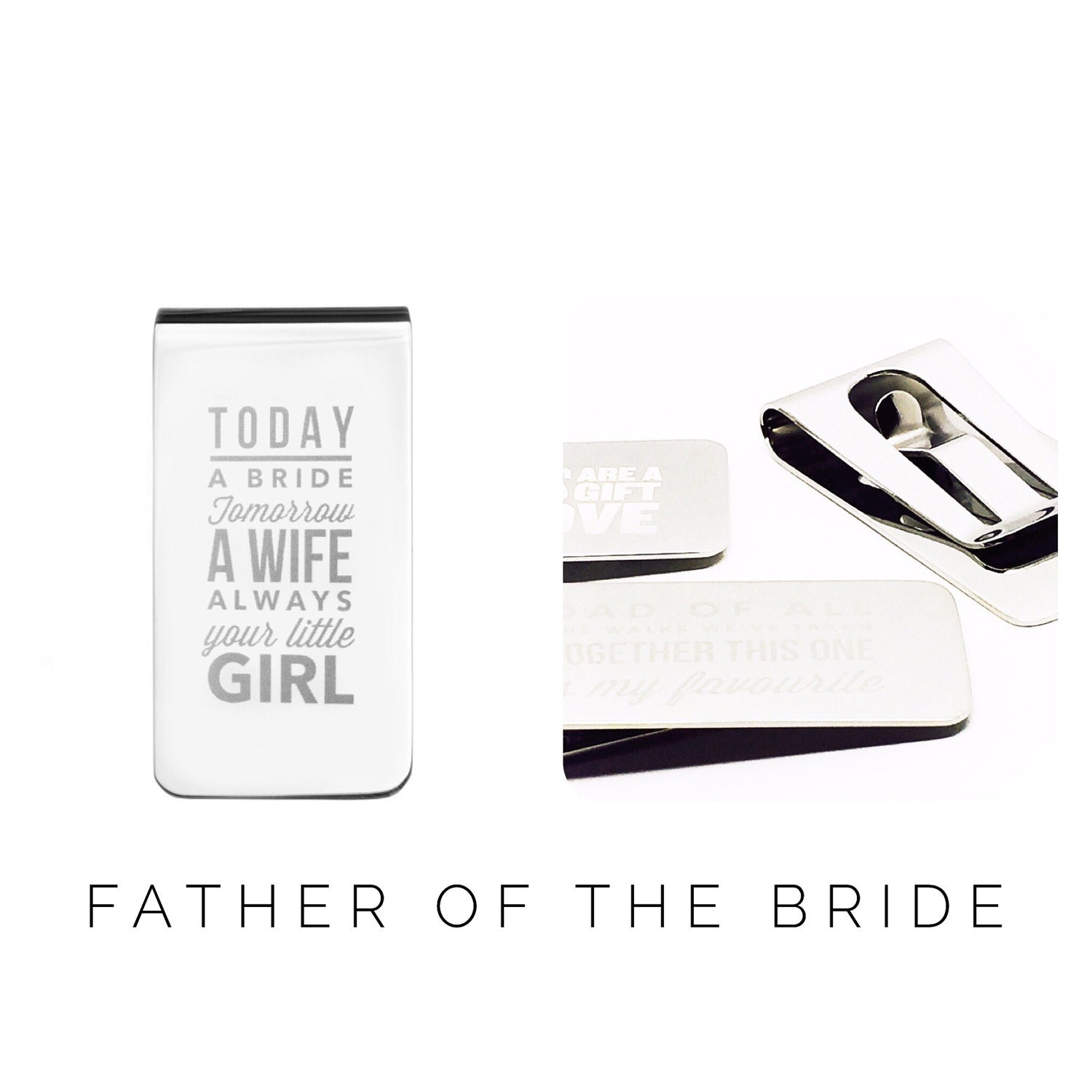 Father of the Bride Gift  Personalised Money Clip  Wedding Gift  Personalized Money Clip (W255)