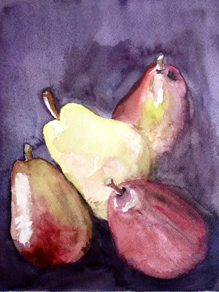 "Original 8x10"" watercolor painting: Fall Pears"
