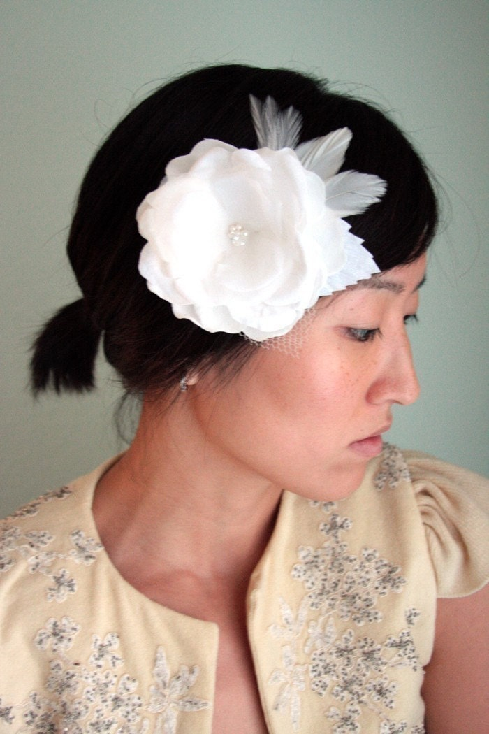 Dream - Bridal hair piece, handmade silk flower, white, feathers and swarovski crystals - Made to Order