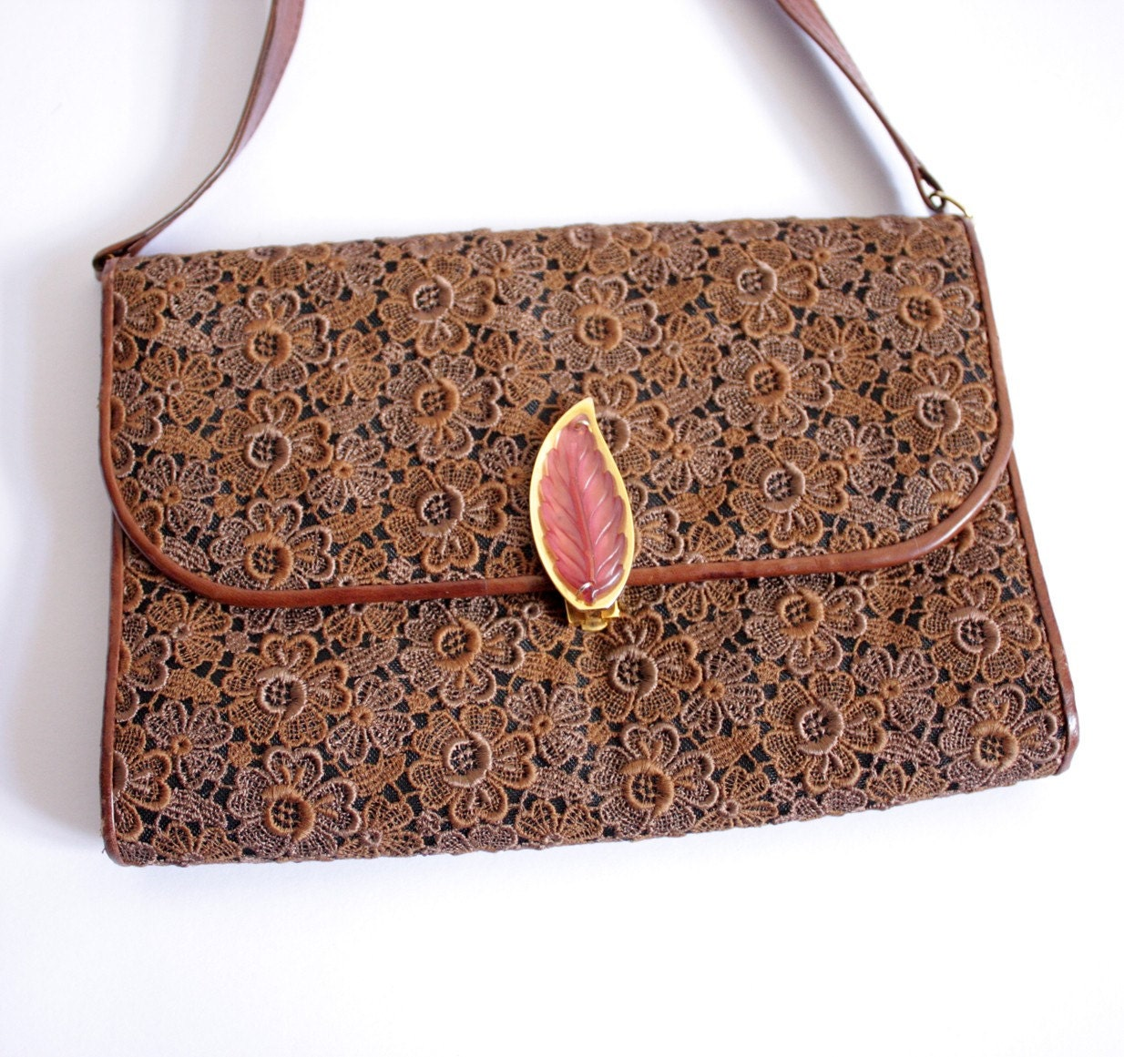 Vintage brown leather and crochet Purse Bag