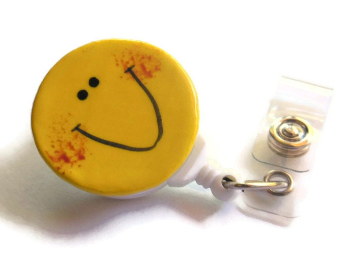 Happy Face Badge Reel Holder in Bright Yellow, ID Retractable Reel Clip for Nurses, Teachers, LVN, cna, rn, Quilting Scissor Holder - ThisOnesMineDesigns