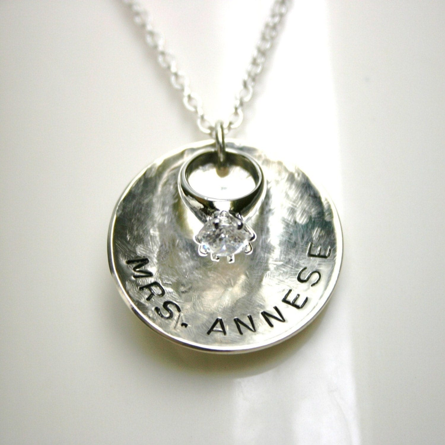 FREE SHIPPING Custom MRS Necklace in Sterling with Miniature Diamond Engagement Ring