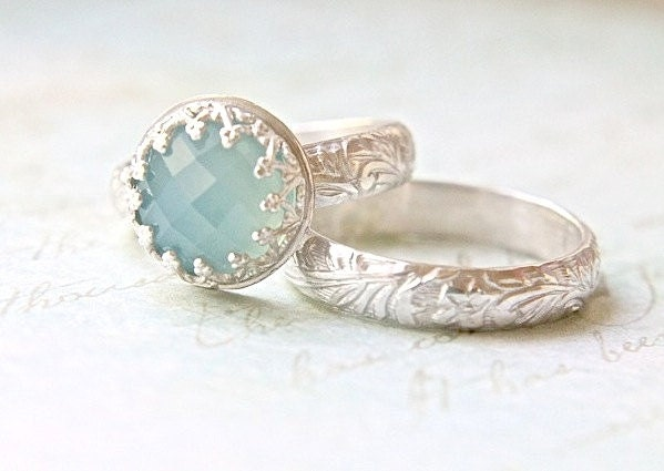 blue chalcedony wedding ring set crown bezel floral engraved band