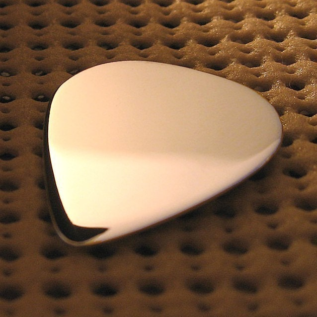 Sterling Silver Guitar Pick Personalized with a Message of Your Choice. Makes a Great Gift with Engraving