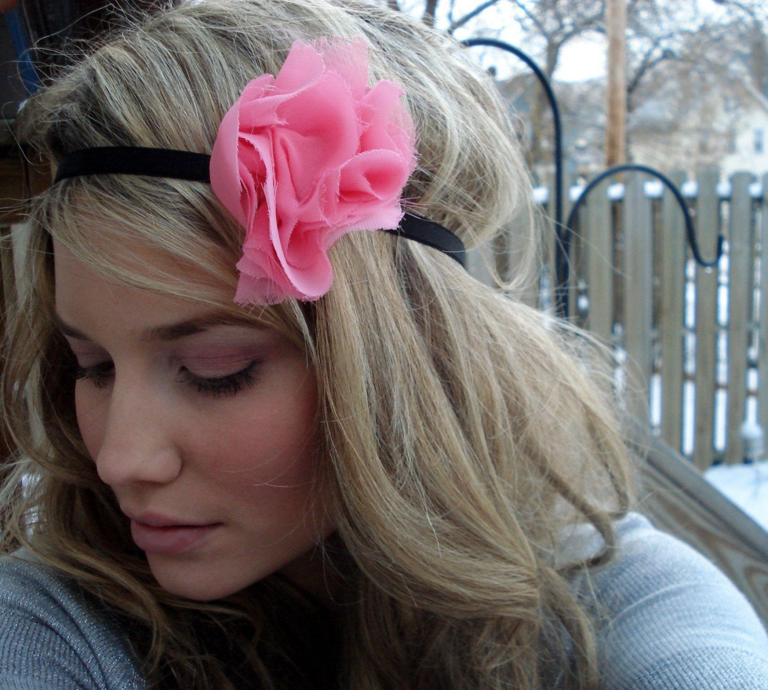 the dreamy II - Large Chiffon Fluff Headband in Pink Coral on Black - Free Worldwide Shipping