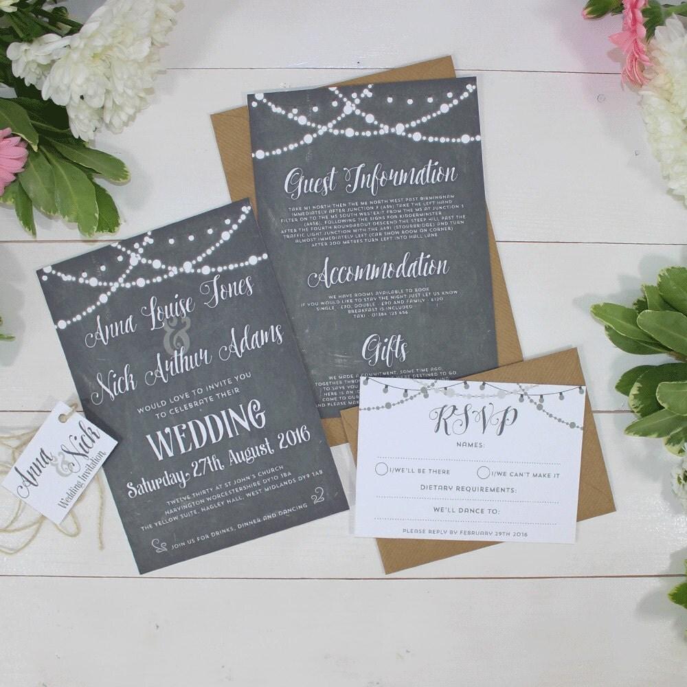 Chalkboard Fairy Lights Wedding Invitations  Lizzie