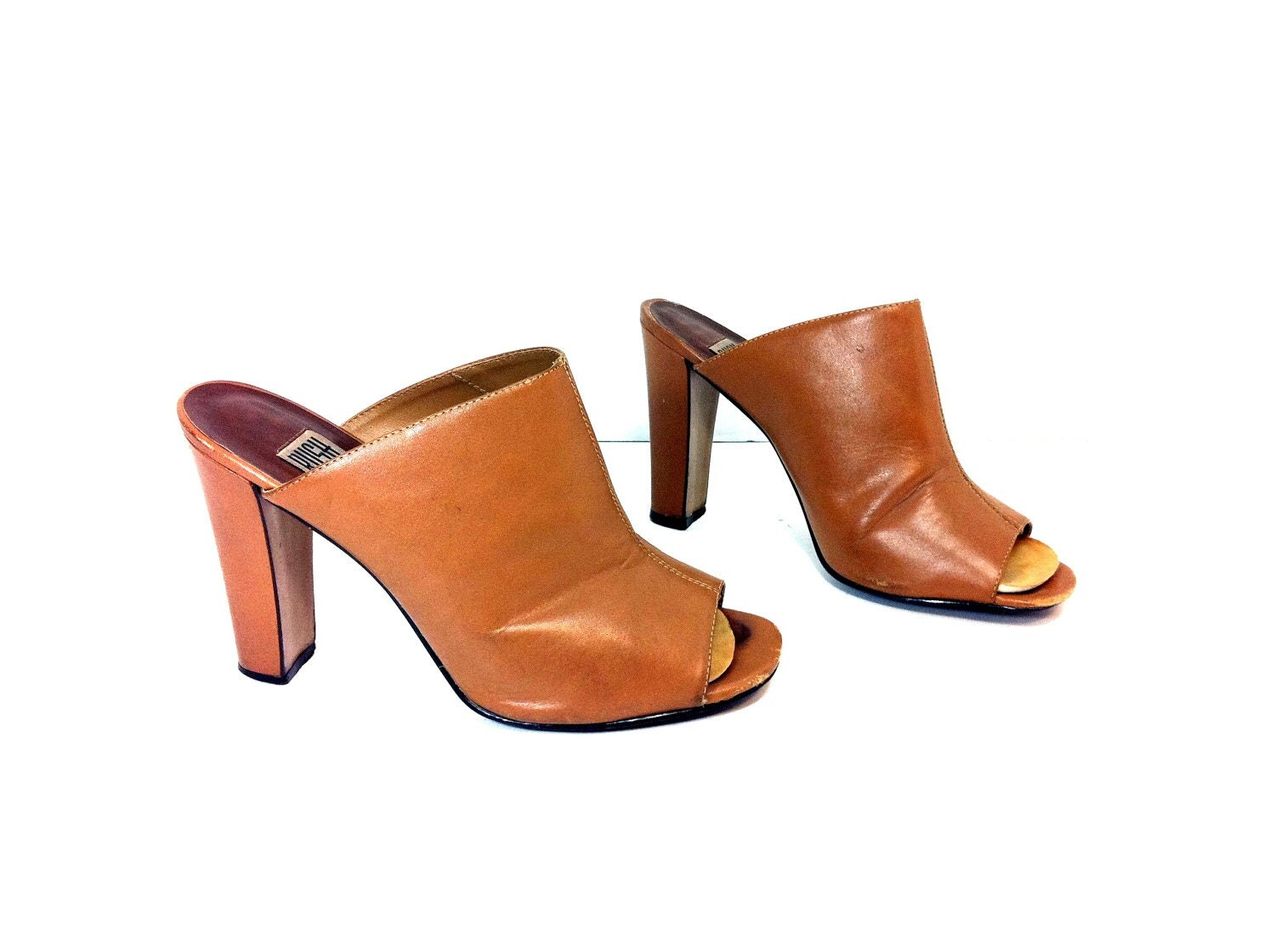 leather high heel clogs 7 slip on mules by
