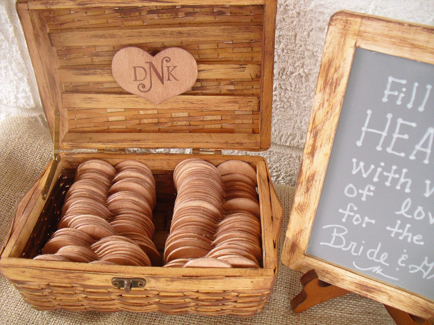Rustic Wedding GUEST BOOK ALTERNATIVE Set with Chalkboard and Easel - Large Set - Item 1086