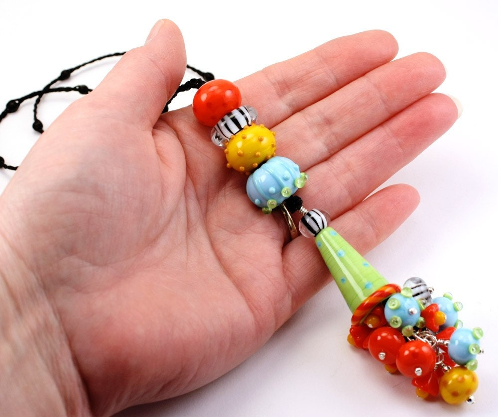 Lampwork Glass Hollow Beads Necklace