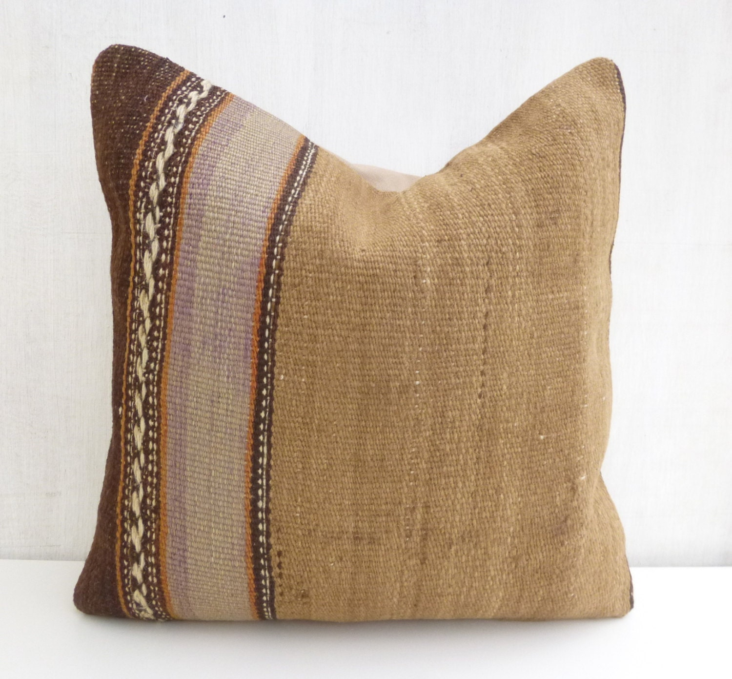 Living Room Throw Pillow Covers : Living room Decor Rustic Kilim pillow Decorative Cushion cover Natural tone Wool Sham 40x40 ...
