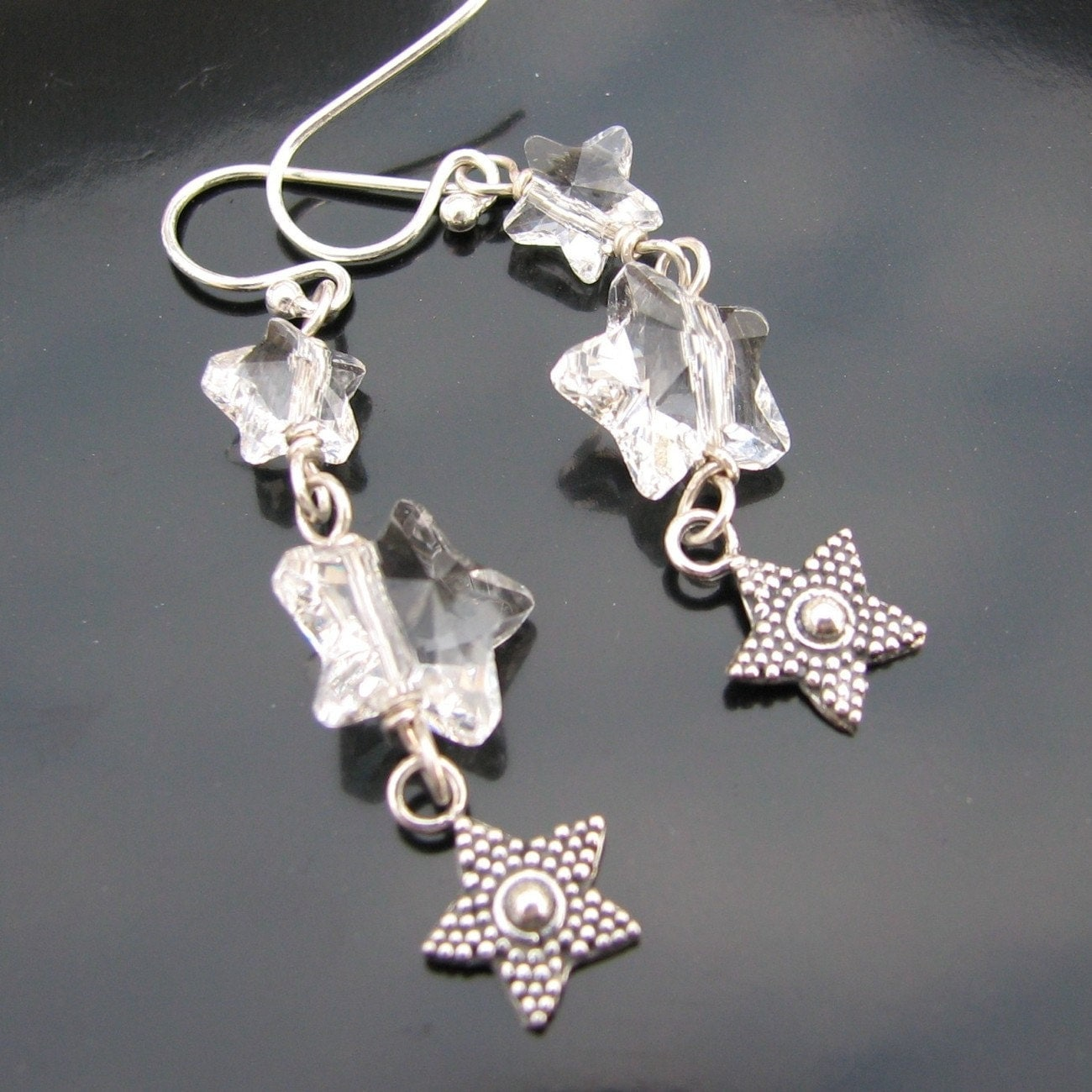 Fallings Stars crystal and sterling earrings