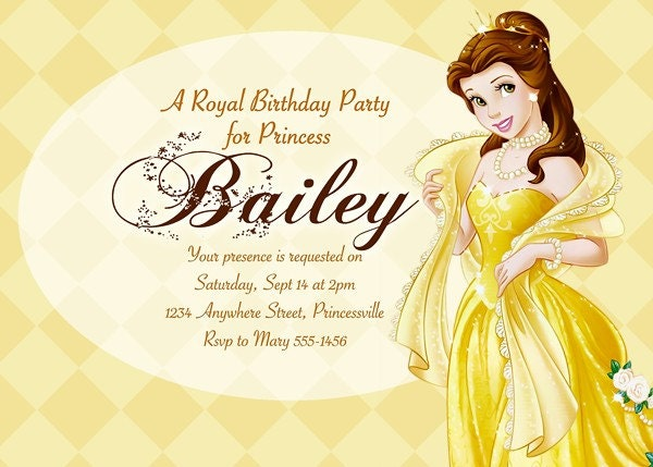 Belle Beauty and the Beast - Disney Princess Birthday Party Invitation - Digital File - You Print