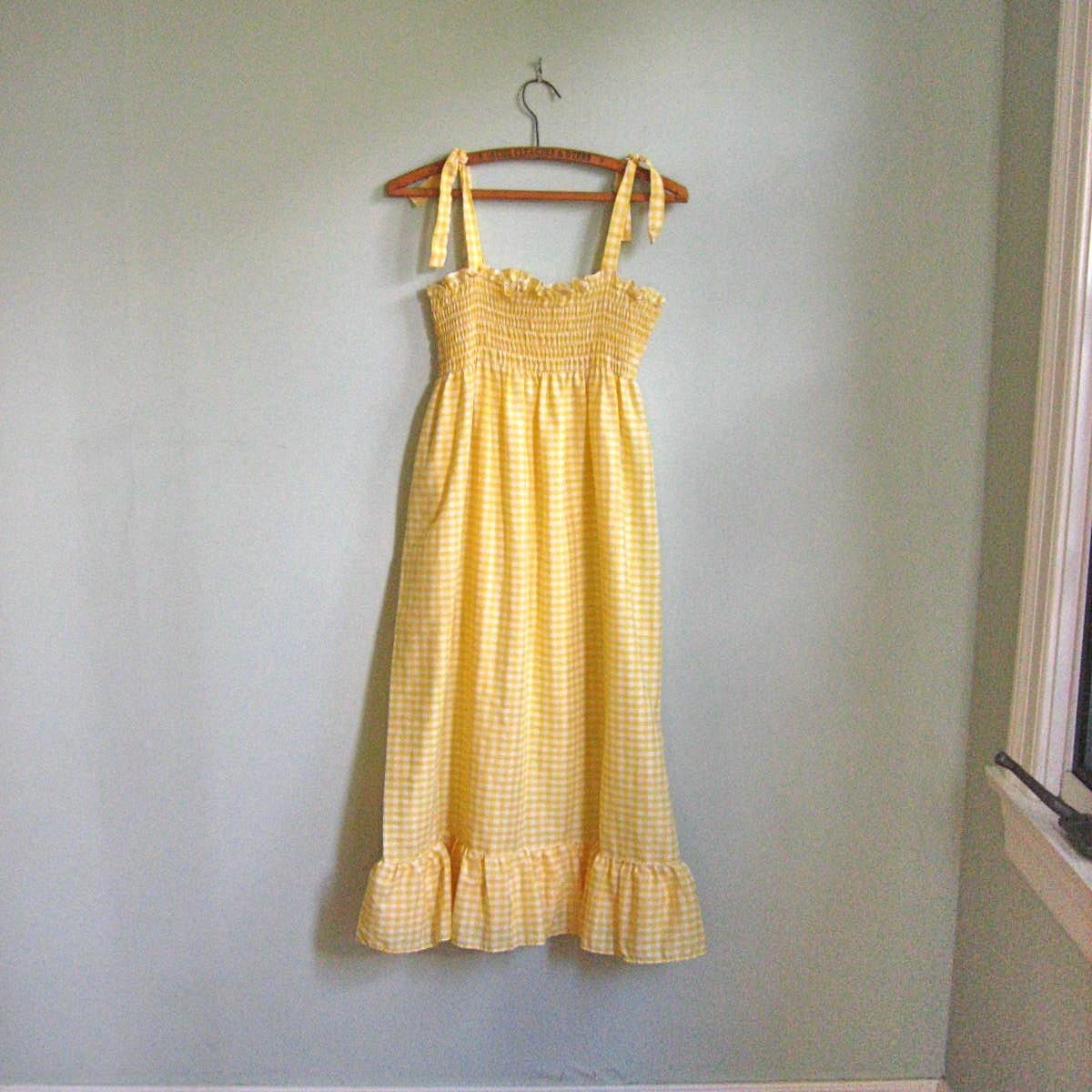 Lemon Yellow Gingham Sundress