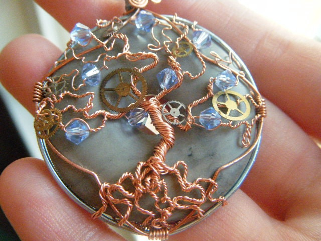 Tree of Life Pendant - Steampunk - Light Blue Sapphire Swarovski Crystals with Watch Gears
