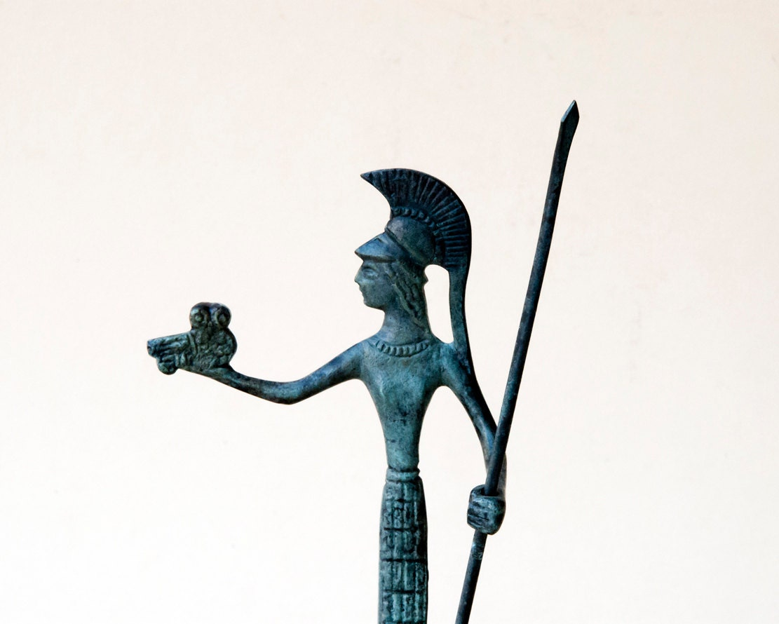 Goddess Athena Statue, Bronze Sculpture, Metal Art Sculpture, Museum Quality Art, Greek Mythology, Olympian God - GreekMythos