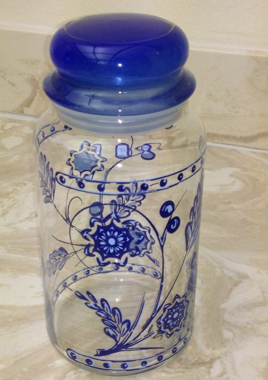 Items similar to Vintage Glass Jar Kitchen Countertop Canister Blue ...