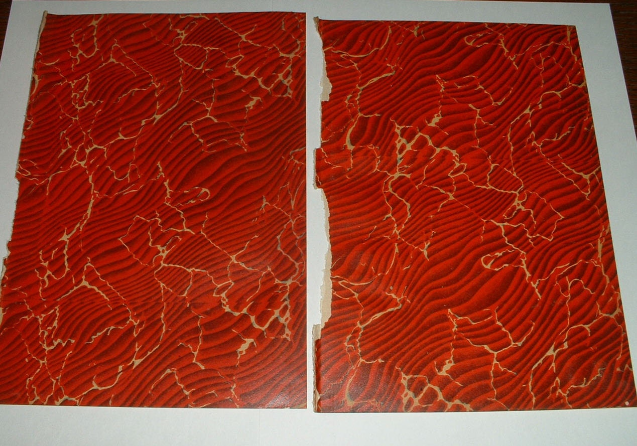 1908 MARBLED PAPER End Pages from Antique Book Great for Altered Art Set of 2 pages