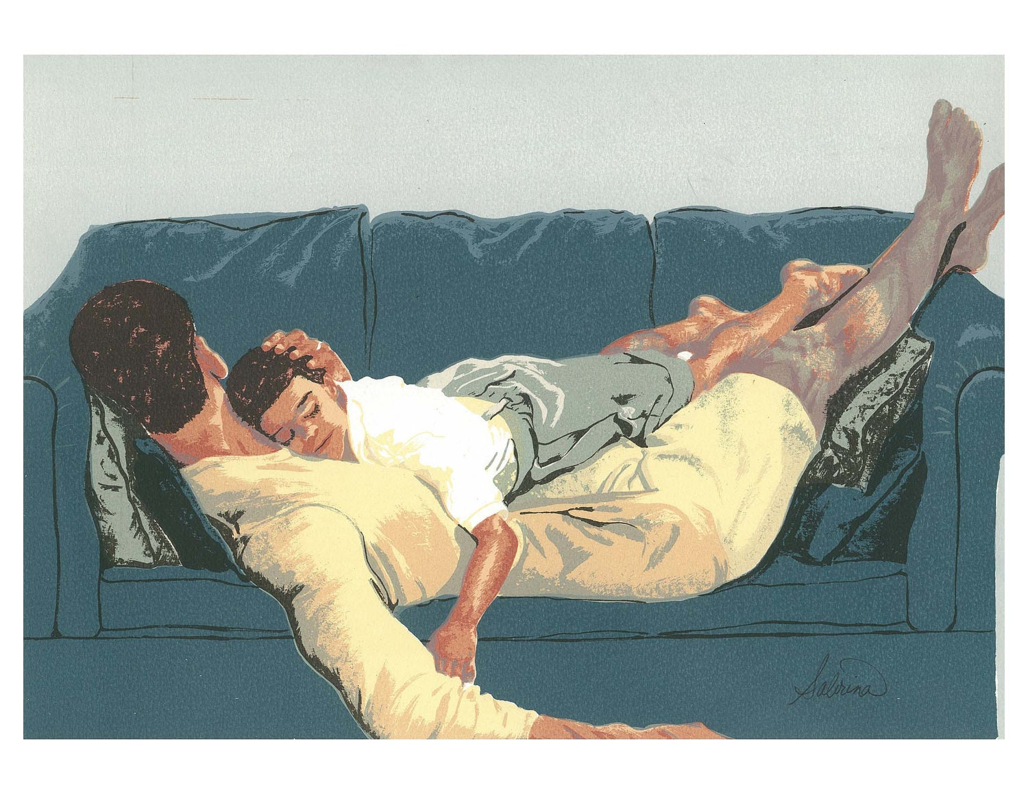 "11 x 14 Art Print of Original Silkscreen Print of Father and Son on Couch ""Afternoon Nap"" by Sabrina Tillman McGowens - brtyche"