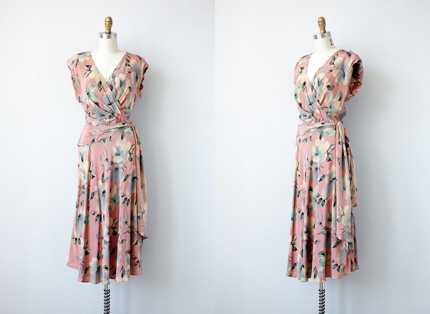 1980s dress / vintage 40s inspired wrap dress / vintage pink floral dress 1980s