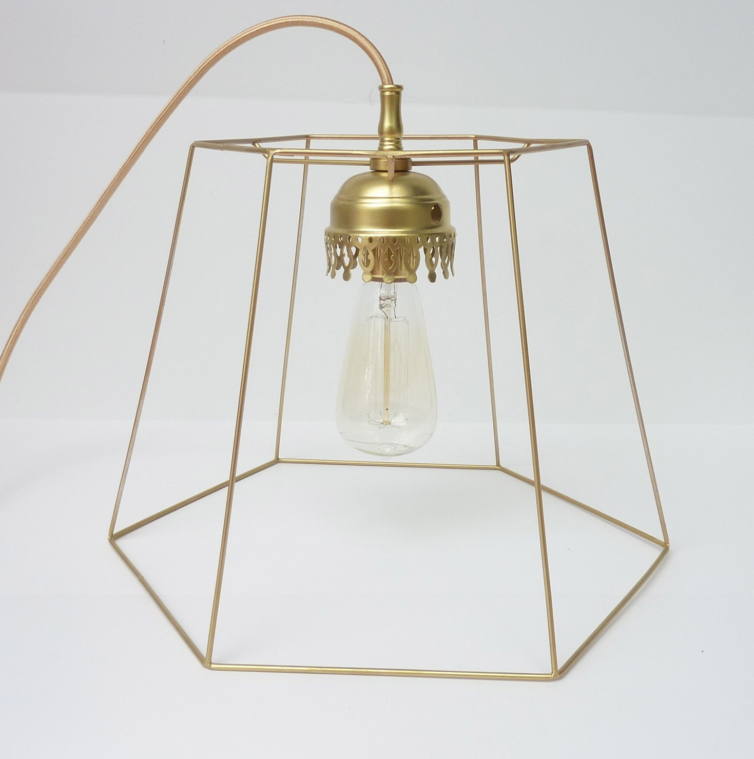 items similar to gold wire hanging pendant light on etsy