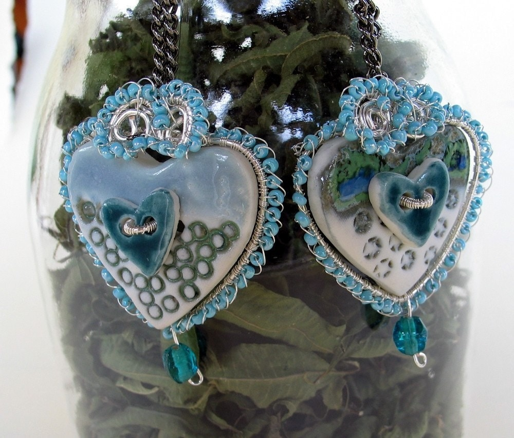 Porcelain Buttons Earrings wrapped with sterling silver wire-Aquatic heart
