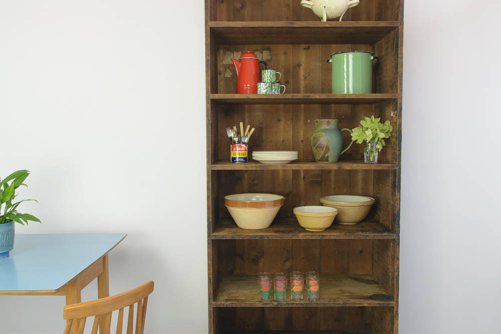 Very Large Vintage Antique Pitch Pine Bookcase Shelving