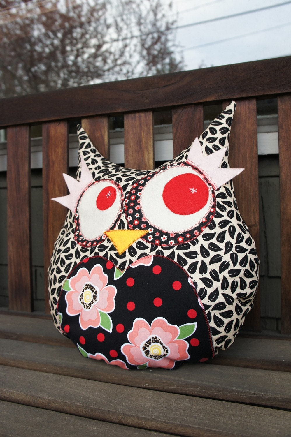 Large Owl Decorative Pillow - black leaves - Ready to ship