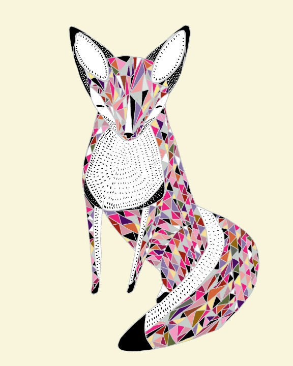 Quilted Fox Print by Gingiber