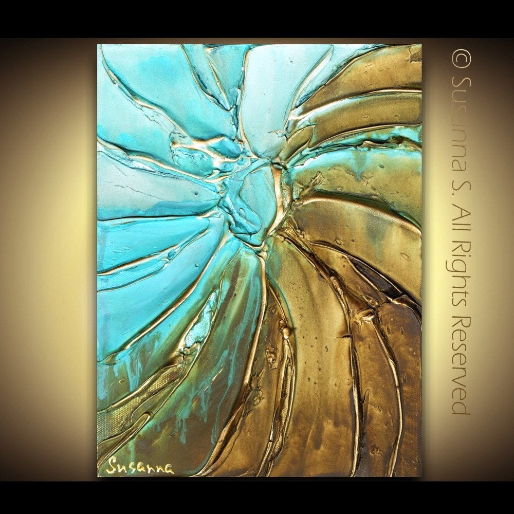 Modern Abstract Blue Brown Fine Art PRINT- Large 36x24