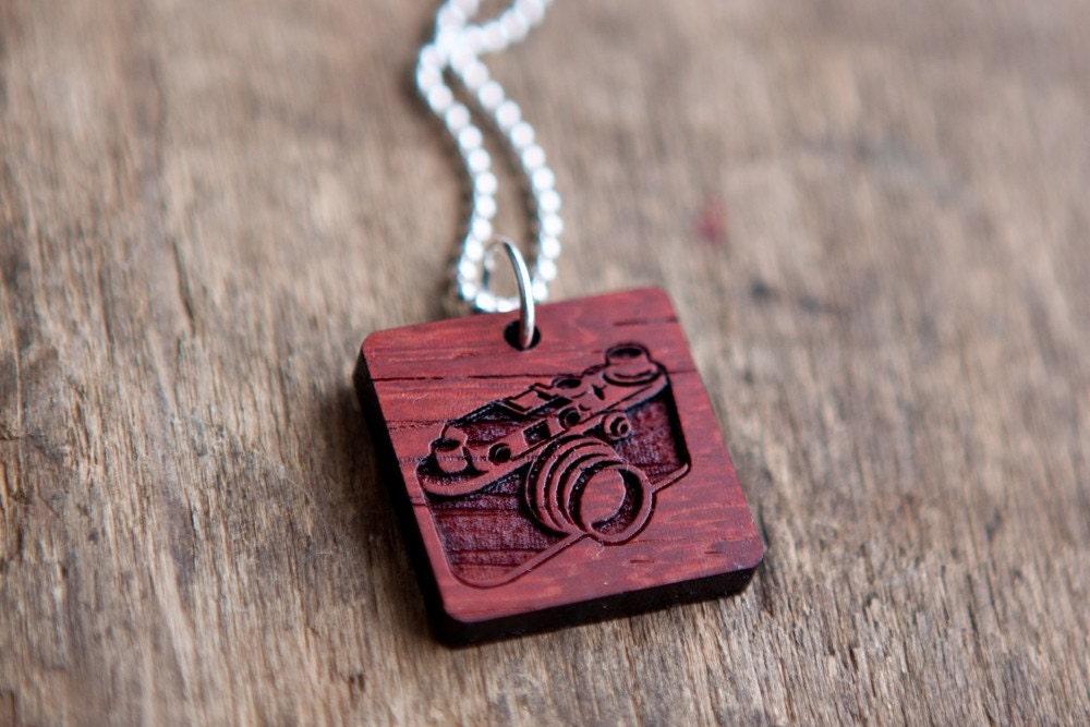 Camera Necklace - African Paduak