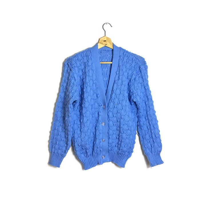 Retro blue wool cardigan  machine knit to look like a hand knitted cardigan  light blue bobble knit cardigan  button up small cardi